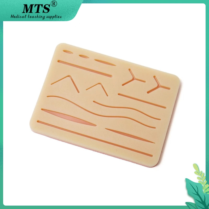 Фото - MTS Silicone Skin Suture Pad Surgical wound Suture Training Kit Wound Simulated Skin Suture Practice Training Tool silicone artificial human skin oral teeth gum suture training kit common types of dental wounds dentist practice and training
