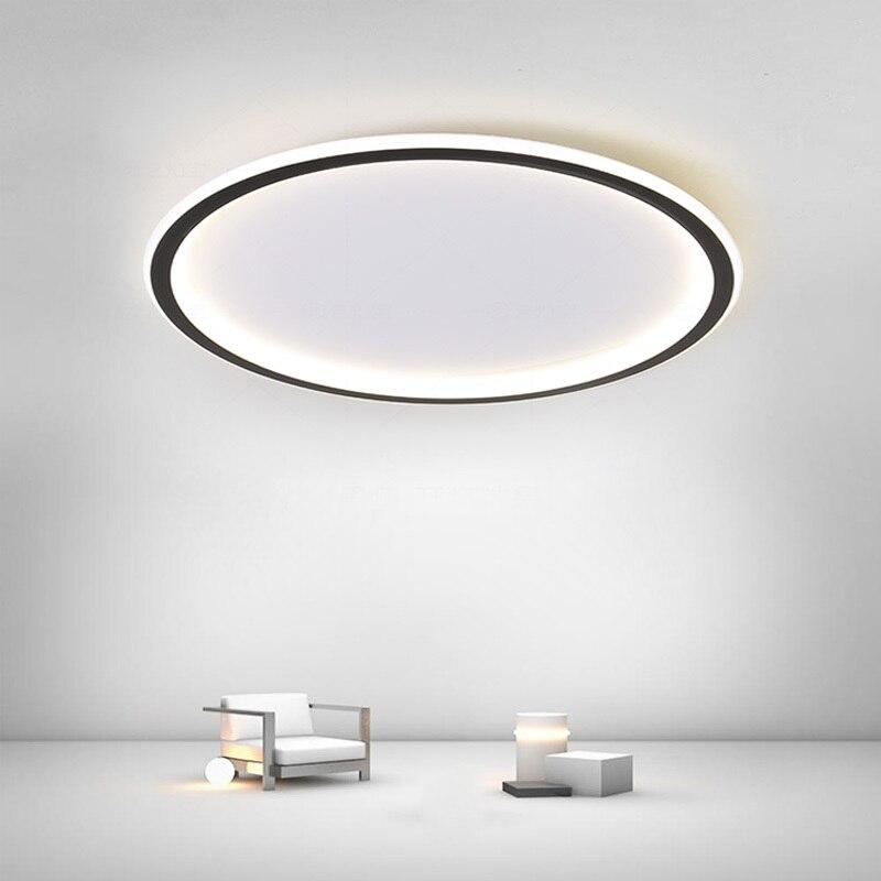 الشمال الحديثة LED الثريا ضوء السقف لغرفة النوم مع APP عكس الضوء رقيقة جدا بسيطة ديكور غرفة المعيشة مصباح دائرة سوداء