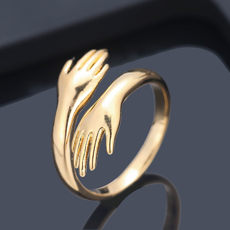 Nueva mano romántica con anillos de abrazo de amor creativo ajustable amor para siempre dedo abierto anillo joyería de regalo para enamorados para mujeres y hombres