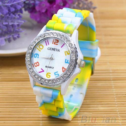 Women Wrist Watch Rhinestone Inlaid Rainbow Color Silicone Band Clock Quartz Wrist Watch reloj mujer Ladies Watch