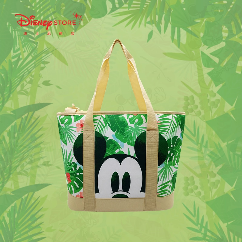 Authentic Disney Official Mickey Minnie Rainforest Series Tote Bag Canvas Bag Large Capacity Summer Outing Travel Bag