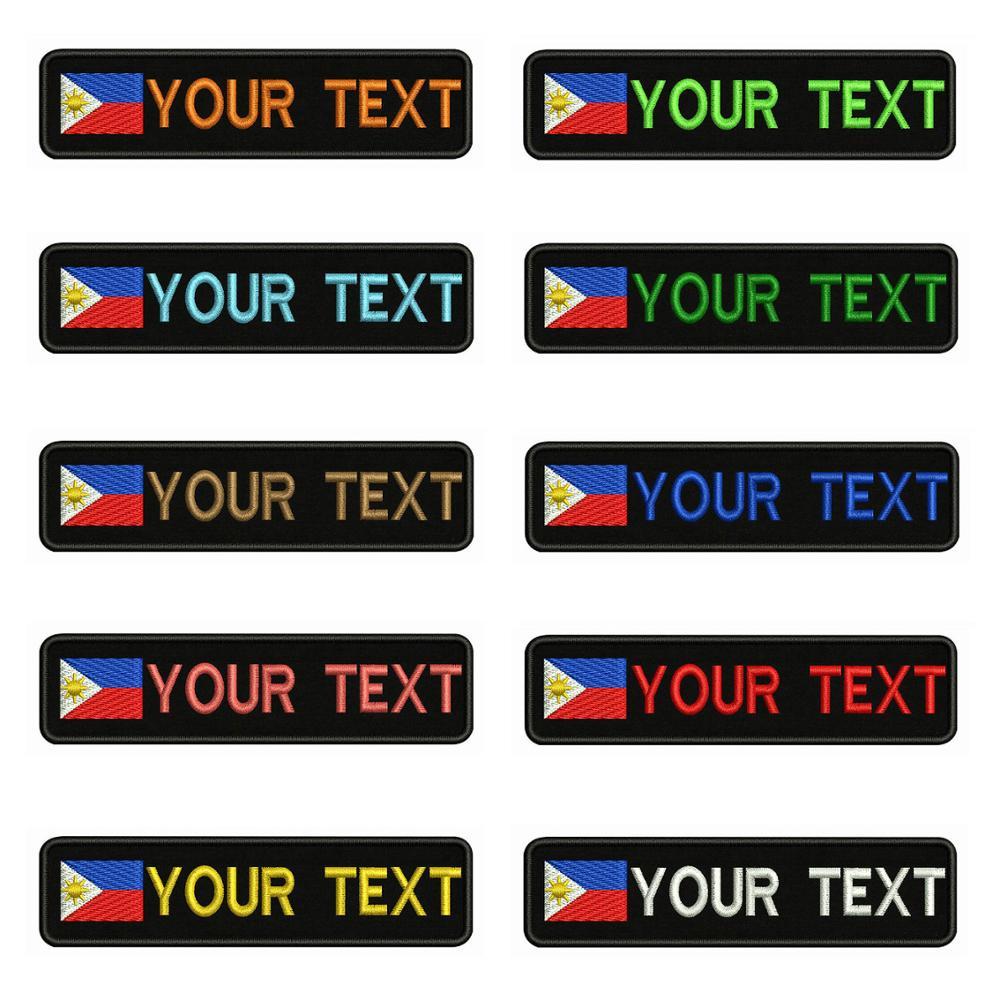 Bandeira filipinas 10X2.5cm Bordado Nome Custom Text Stripes Patch emblema Iron On Ou o Apoio de Velcro Patches Para Roupas