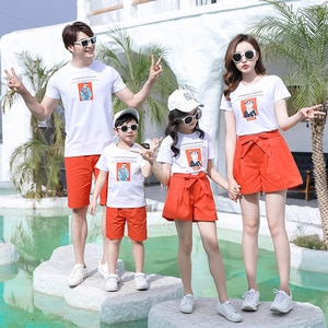 Summer Family Matching Outfits Dad Son Mom Girls Sets White Short Sleeve T-shirt+Orange Shorts 2PCS 100%Cotton Suits Clothes