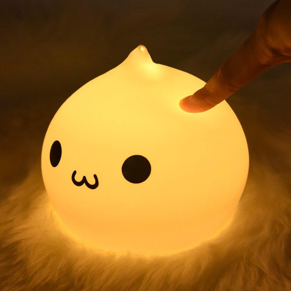 LED ليلة ضوء لوز Nocturna Infantil Nachtlampje لرياض الأطفال مصباح غرفة النوم اللمس الاستشعار غرفة ديكور لطيف هدية للأطفال طفل