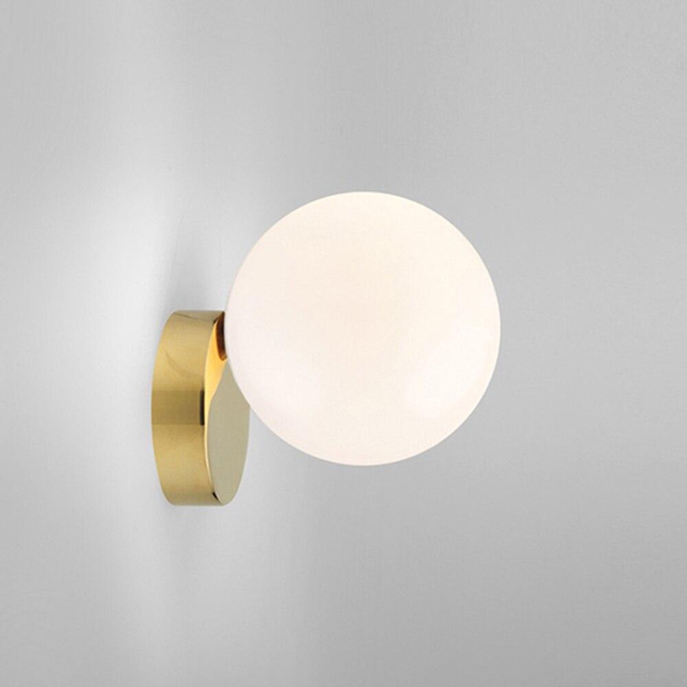 Lámpara de pared nórdica, lámpara de pared led, lámpara moderna para escalera, lámpara de pared dorada para sala de estar, bola de cristal, iluminación de pared