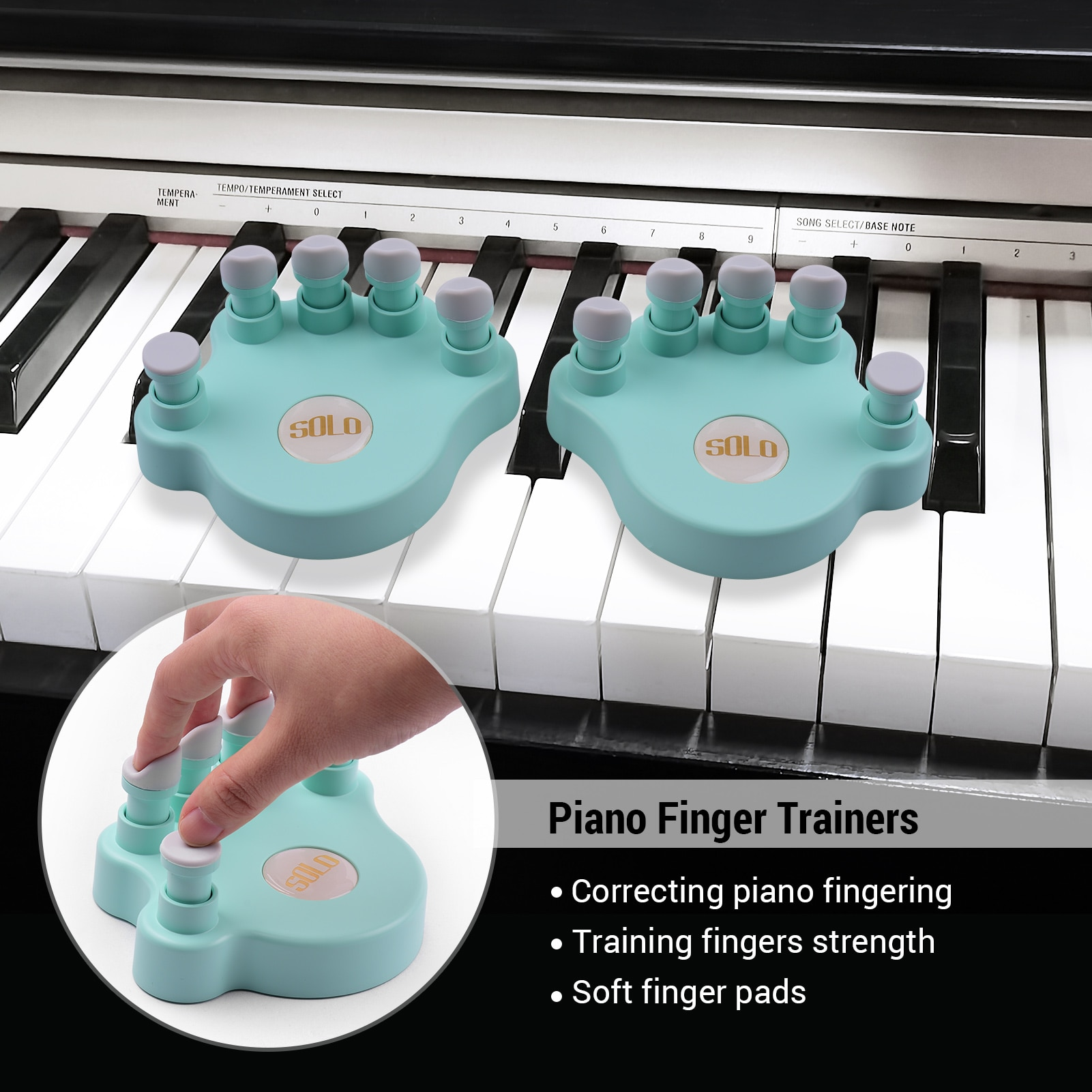 SOLO Piano Finger Trainers Fingers Strength Training Tools Finger Correctors Soft Finger Pads Piano