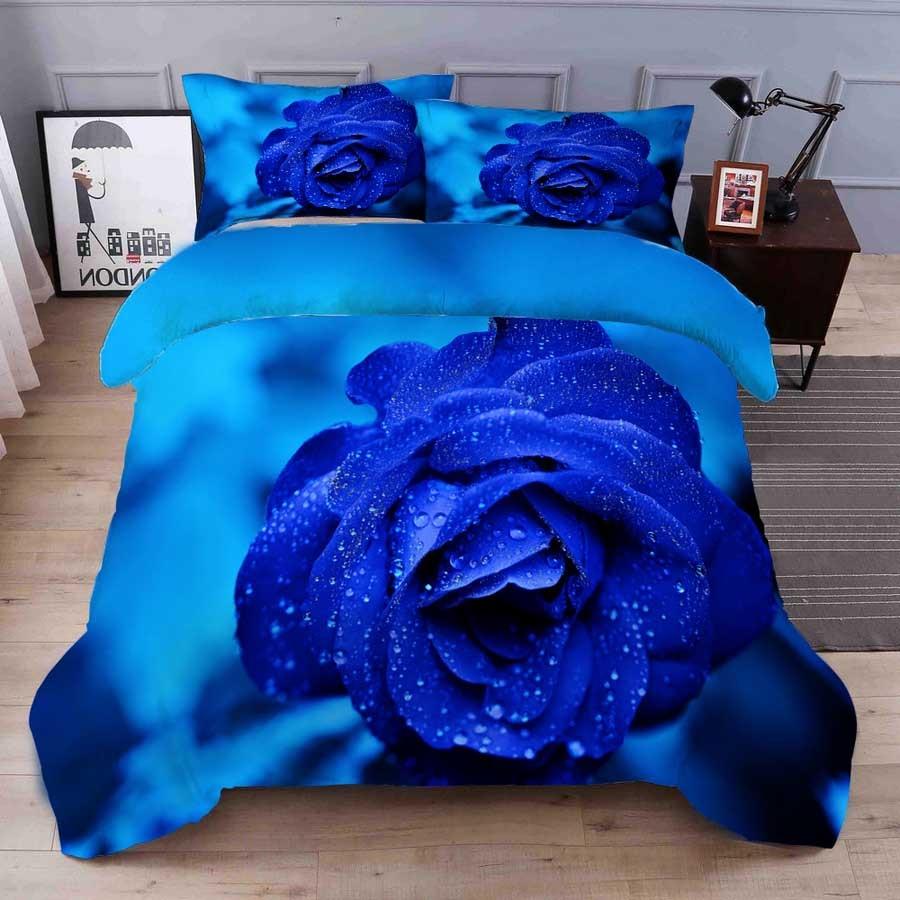 WOSTAR Home textiles king size bedding set 3d digital printing blue rose home bedding set bed sheet duvet cover pillow case