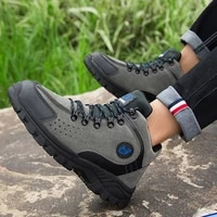 high quality leather outdoor hiking shoes for men waterproof fleece warm winter sneakers non slip mid cut hiking mouintain boots