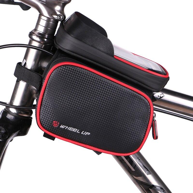 Bolsa de bicicleta impermeable, marco delantero, bolsa de tubo para ciclismo, funda de teléfono de 6,2 pulgadas, bolsa con pantalla táctil, accesorios para bicicleta MTB
