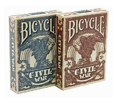 Juego de cartas en color marrón/Azul de la Unión de La Guerra Civil, cartas de póker de tamaño coleccionable, accesorios de trucos de magia para Migician