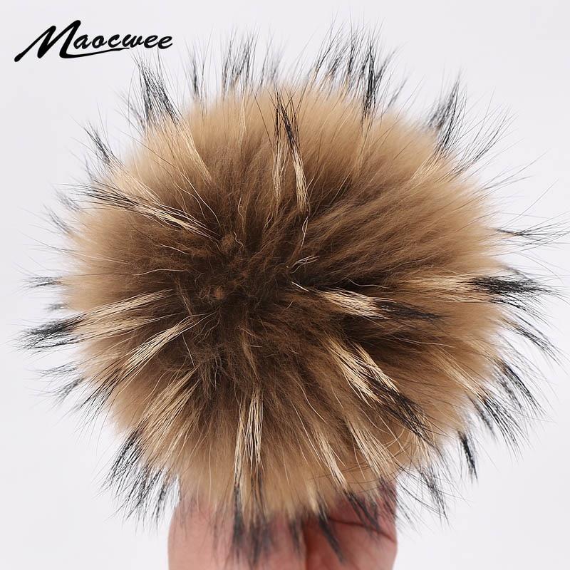 15cm Natural Animal Bola de Pelo sombrero bola Pom hecho a mano DIY realmente mapache Bola de pelo grande gorro al por mayor pompón con hebilla