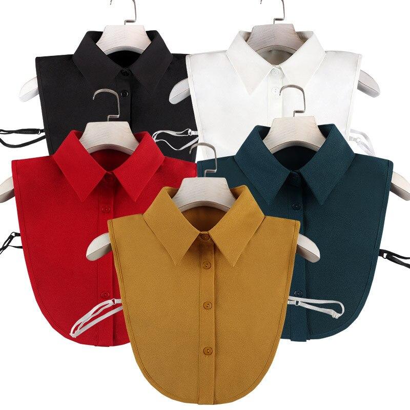 Фото - Женская шифоновая винтажная блузка со съемным воротником, блузка с воротником, свитер, топ с отворотом, женская одежда, аксессуары тенсельная блузка со стиркой