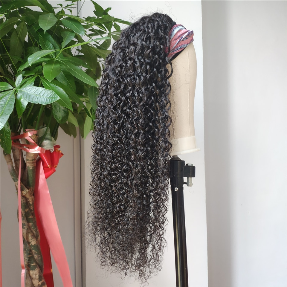 Rizado rizado peluca con diadema pelucas de cabello humano 10-26 pulgadas brasileño de Color Natural Remy bufanda peluca con diadema s para las mujeres negras