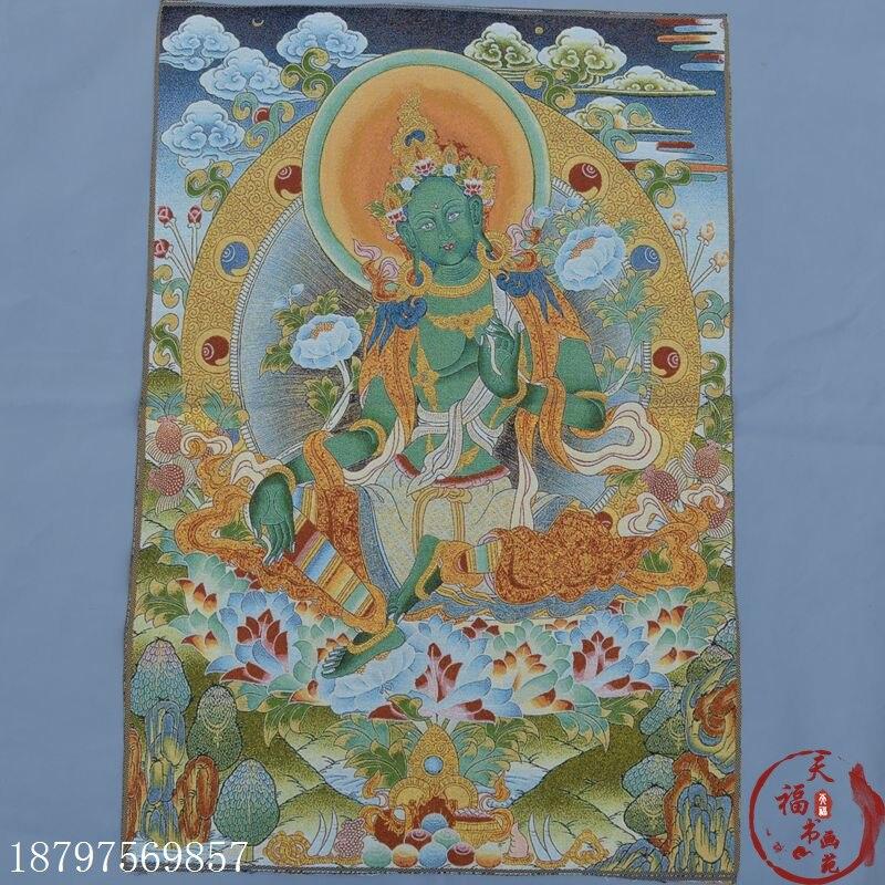 christmas Thangka Zangka brocade silk painting embroidery Tibetan Buddha Green Tara Guanyin Bodhisattva halloween