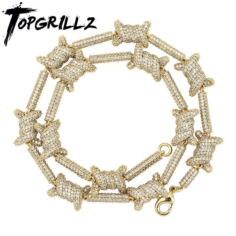 TOPGRILLZ 10mm Miami patrón x nudo collar oro plata-plato cadena ajuste 3A zirconia cúbica Hip Hop joyería masculina