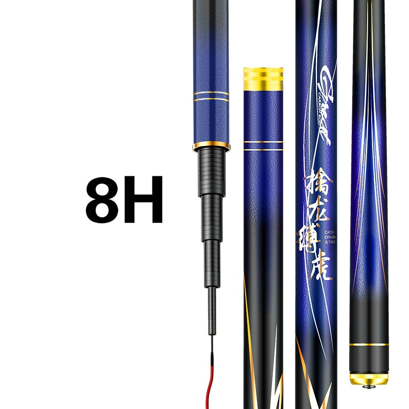 3.6m-9.0m 8H 12H Super Hard Black Pit Taiwan Fishing Rod Hand Pole 60T Carbon Fiber Telescopic Wedkarstwo Carp Fishing Sticks enlarge