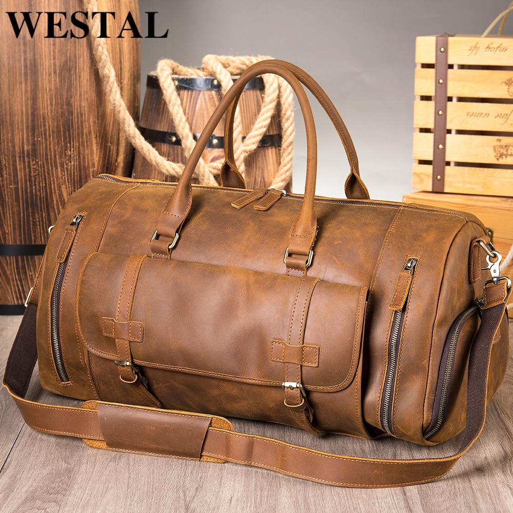 WESTAL Personalised Handmade Travel Bag Men's Crazy Horse Leather Duffle Bags Weekend Bag Business Luggage Fashion Handbags