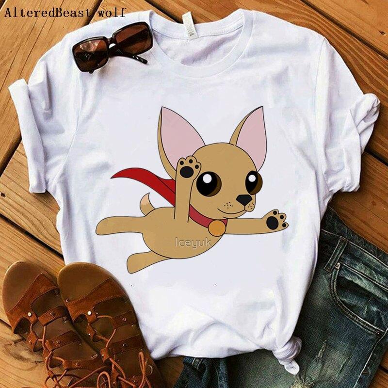 Super Chihuahua camiseta 2019 tops de verano para mujer divertida camiseta estampada Mujer casual camiseta chihuahua perro mujeres tapas de moda