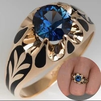 vintage metal ring for women inlaid with bohemian sapphires fashionable light luxury high quality womens jewelry accessories
