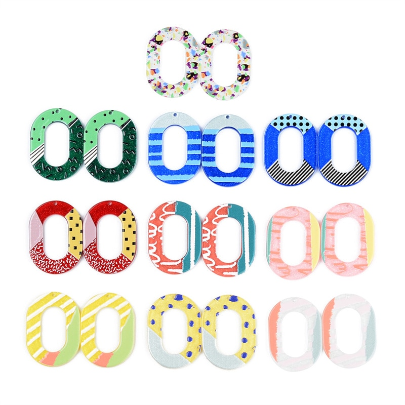 50PCS Hollow Ellipse Colorful Spot Relief Oil Painting Accessories Hand Made Earrings Connectors DIY Pendant Components Charms