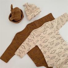 Automne nouveau bébé dinosaure imprimer à manches longues coton body costume bande dessinée combinaison + chapeau bébé fille vêtements bébé garçon ensemble