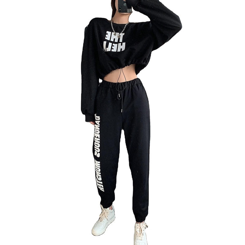 Round Neck Long Sleeve Loose Short Sweater Sports Suit Women's Wide Legs Pants Fashion Women Trends  - buy with discount