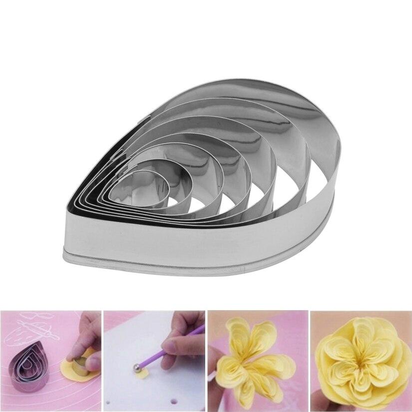 7 unids/set cortadores de rosas Austen, molde para repostería de acero inoxidable para galletas, herramientas de decoración de pasteles