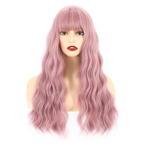 """VCKOVCKO Long Natural Loose Curly Wavy Wigs With Air Bangs for Women Synthetic Wigs Pink Wigs for Party Daily Use wigs 26"""""""