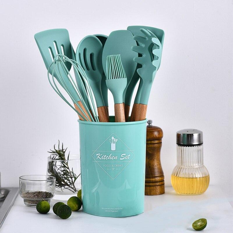 المطبخ سيليكون الطبخ أواني مجموعة مقاومة للحرارة المطبخ غير عصا الطبخ أواني الطبخ أدوات Utensilios دي Cocina