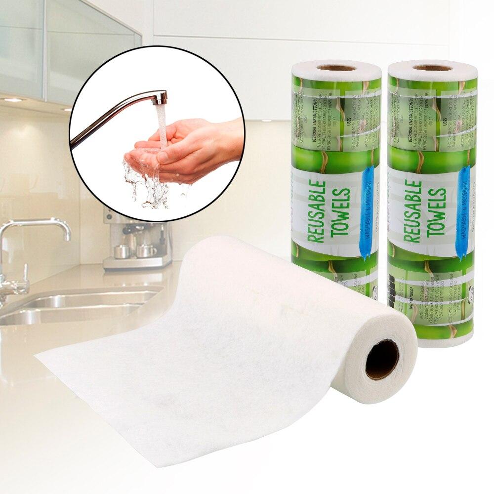 Toalhas de bambu reusáveis laváveis absorventes laváveis toalha de papel de cozinha de casa 25 pces/rolo toalha de lavagem limpa