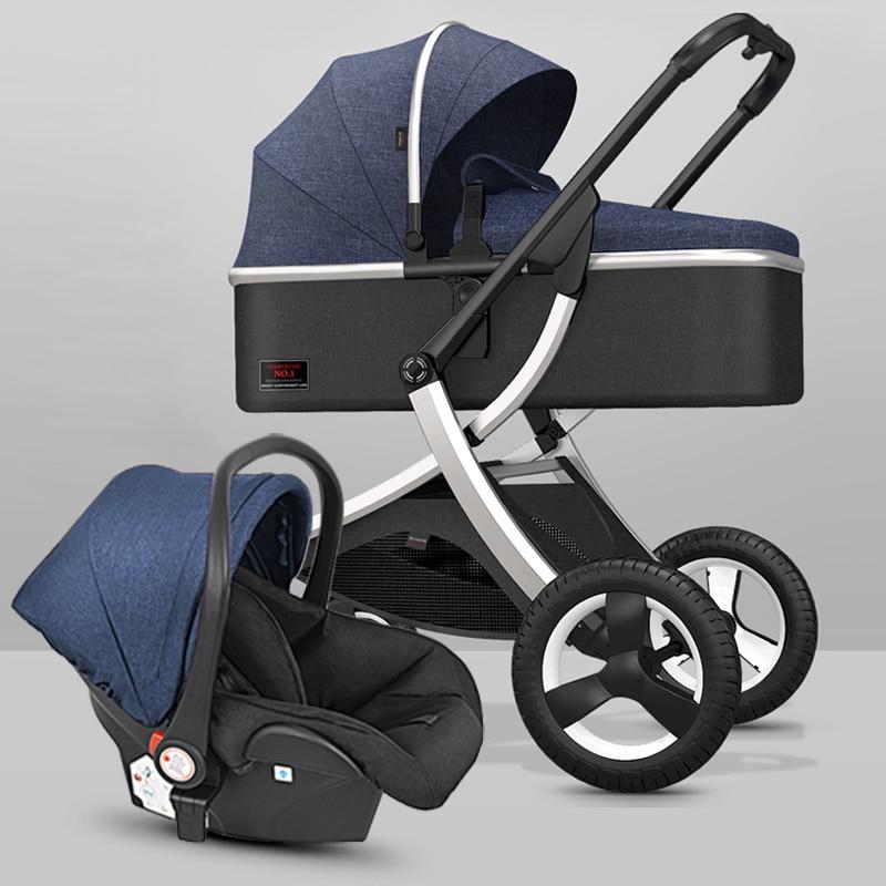 High landscape baby stroller  3 in 1 stroller can sit and lie two-way shock absorber lightweight folding newborn baby stroller