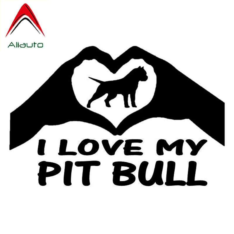 Pegatina para coche Aliauto, pegatina para rascar, decoración con diseño de Animal perro, I Love My Pit Bull, accesorios de vinilo, calcomanía de PVC para Volvo S60,14cm x 9cm