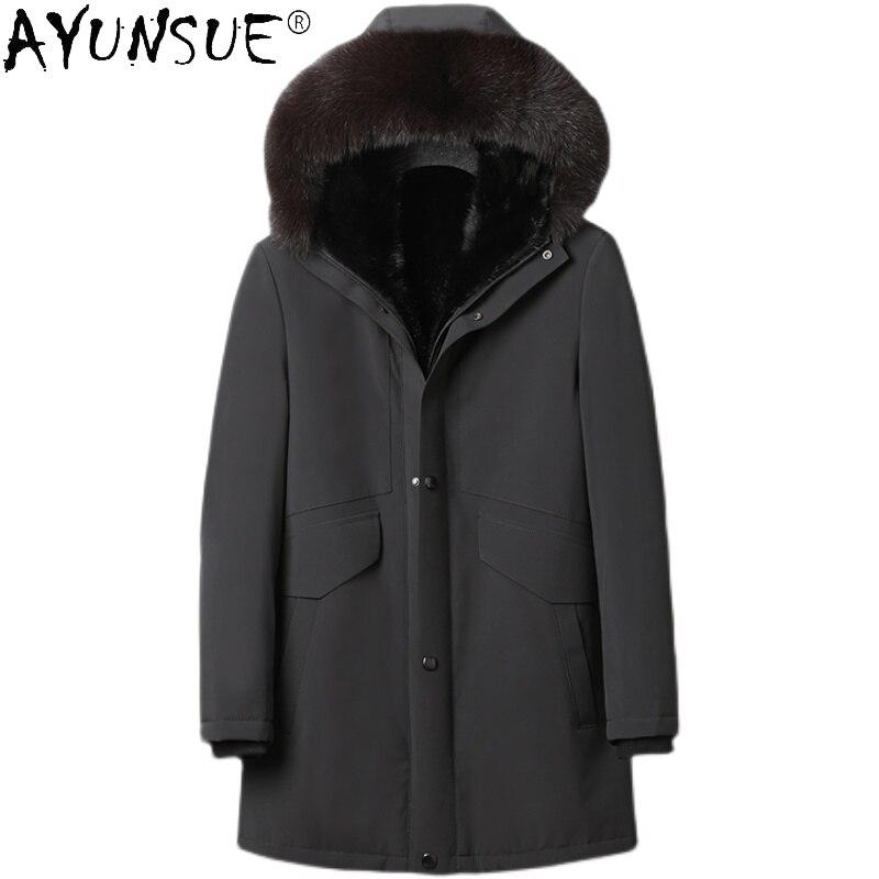 Ayunsu الشتاء الطبيعي فرو منك بطانة معطف الرجال الدافئة سميكة سترة ريال فوكس الفراء طوق سترات ملابس للرجال Veste أوم WPY4416