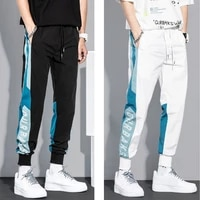streetwear men casual pants loose hiphop sports pocket korean elastic waist cargo harem pants black white joggers male trousers