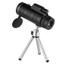 Lente óptica Bak4 de 40X60, ajuste de enfoque Manual, Monocular 8X con trípode, Clip para teléfono, telescopio FMC, película verde para acampar y cazar