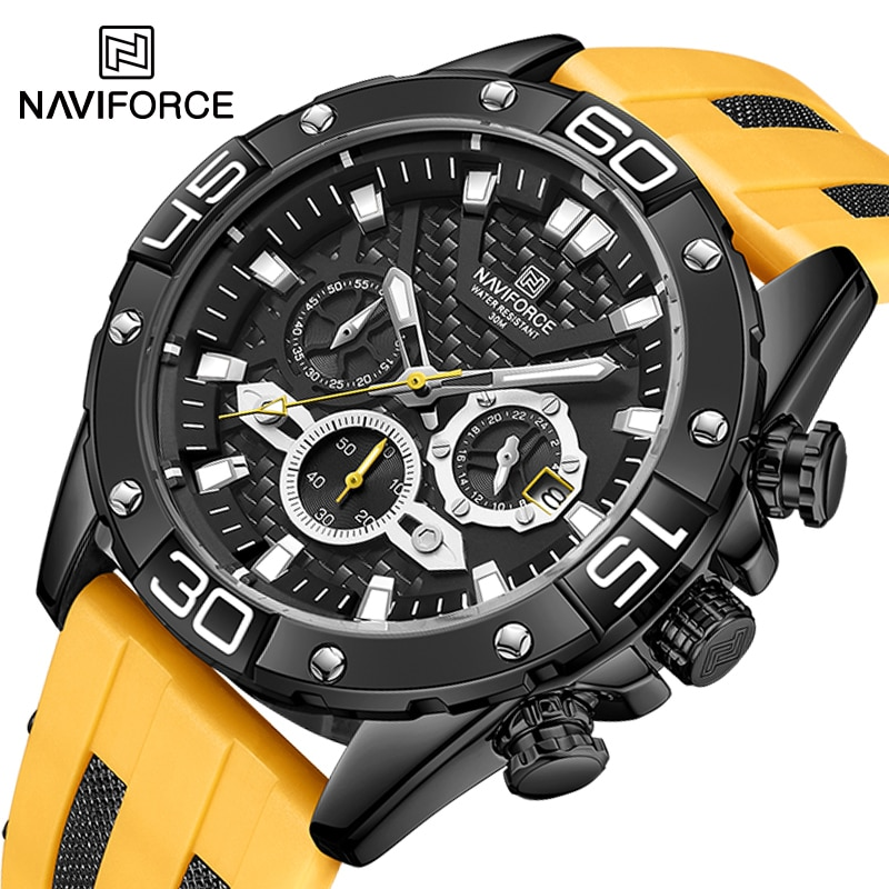 NAVIFORCE Luxury Watches for Men Fashion Silicone Strap Military Waterproof Sport Chronograph Quartz WristWatch Clock With Date