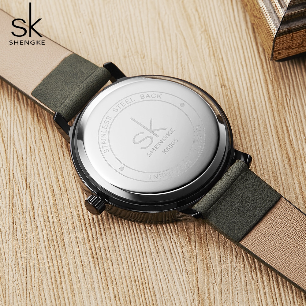 shengke simple women dress watches retro leather female clock Top brand women's fashion mini design wristwatches clock enlarge