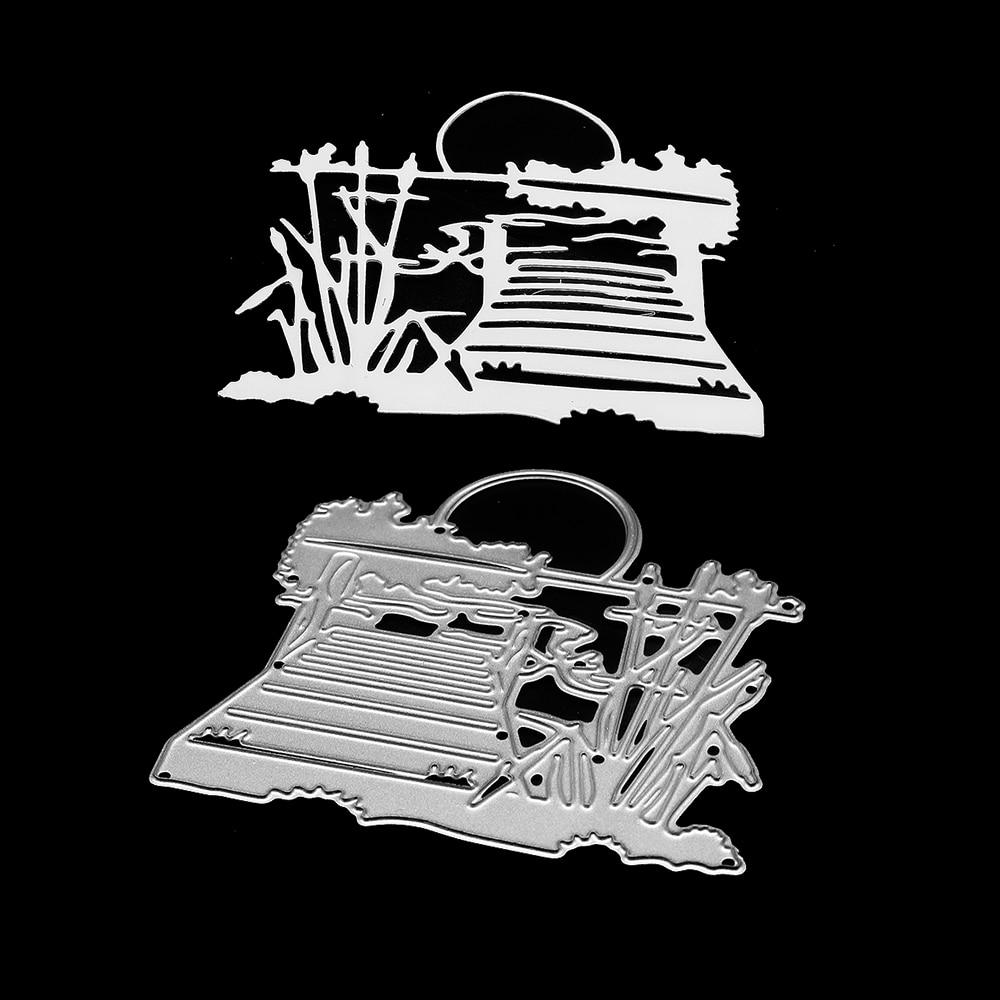 Patrón de paisaje lateral del lago troqueles de acero al carbono metal corte matrices de estampado juego de troqueles para hacer tarjetas manualidades y scrapbooking