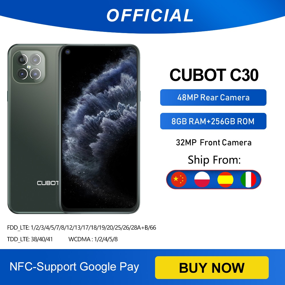 Cubot C30 48MP Quad AI Camera 8GB+256GB 32MP Selfie Smartphone Global 4G LTE Helio P60 NFC 6.4 Inch FHD+ 4200mAh Android 10