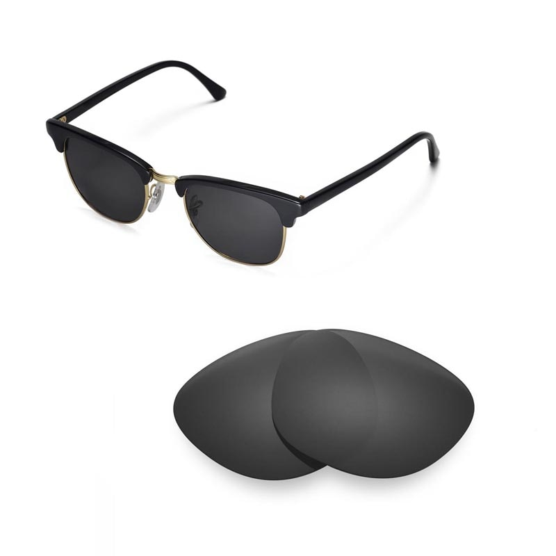 Walleva Polarized Replacement Lenses for Ray-Ban Clubmaster RB3016 49mm Sunglasses USA shipping