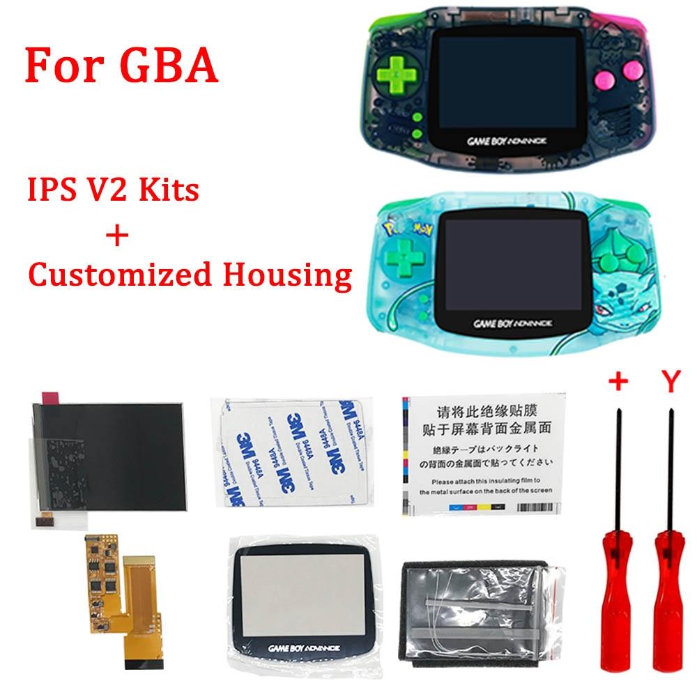 جديد IPS V2 LCD أطقم الشاشة مع تخصيص الإسكان شل مجموعة ل GBA ، 12 ألوان قبل قطع شل مع الخلفية V2 شاشة أطقم