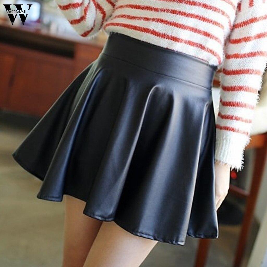 Womail Women Skirt summer PU Faux leather Mini skirt Jupe black short skirt Club party Skater Pleated Skirt Dance Faldas Mujer