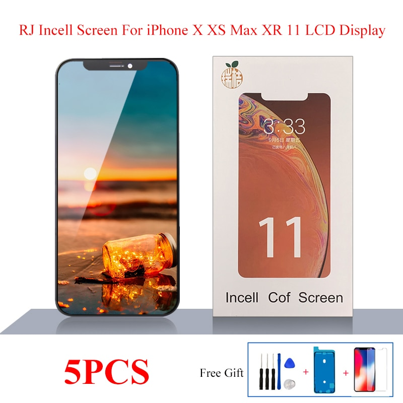 5PCS OTMIL RJ Incell Screen For iPhone X XS Max XR 11 LCD Display 3D Touch Screen Digitizer Assembly No Dead Pixel LCD Pantalla