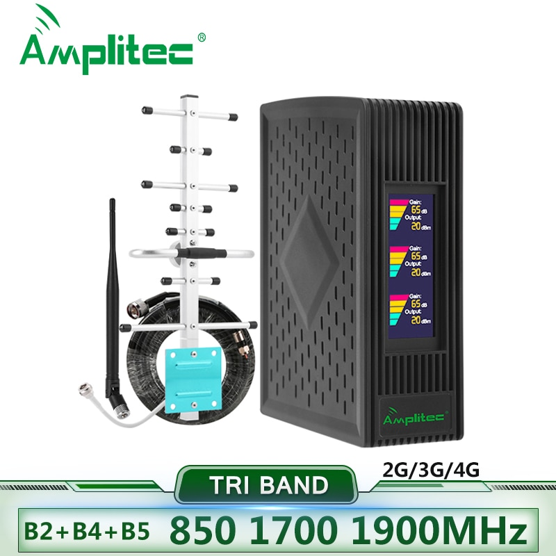 Amplitec 4G Repeater Cellular Signal Amplifier 900/1800/2100 Tri-Band Cellphone Repeater 850/1700/1900 Mobile Signal Booster Set