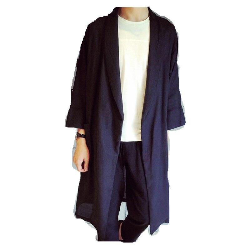 الربيع والخريف الرجال سترة واقية طويلة موضة القطن الكتان المواد معطف M-6XL! مخصص ملابس للرجال