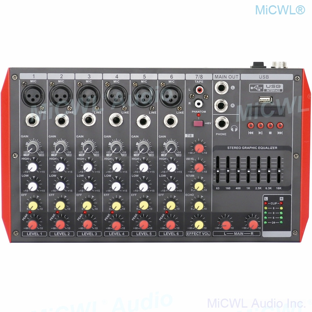 Pro MG12 Bluetooth Portable 12 Channel Audio Mixer Sound Mixing Console USB MP3 7-Band EQualizer DJ Live Mixer MG6 6 Channel enlarge