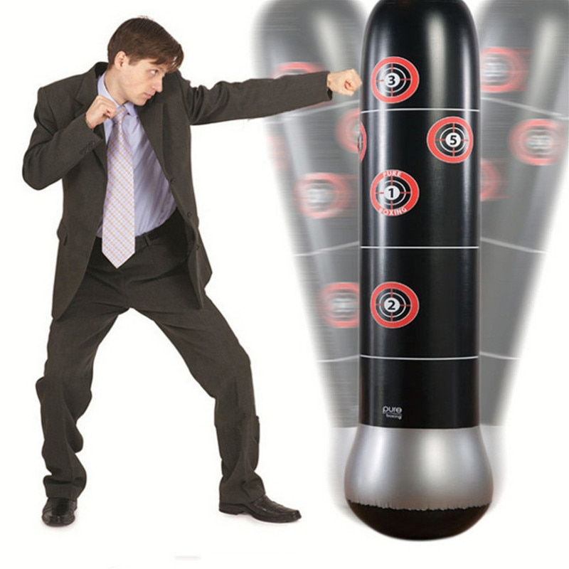 Купить с кэшбэком Fitness Inflatable Punching Bag Pressure Boxing Tower Bag Speed Station Strength Boxing Gloves Target Bag for Kids Teen Adult
