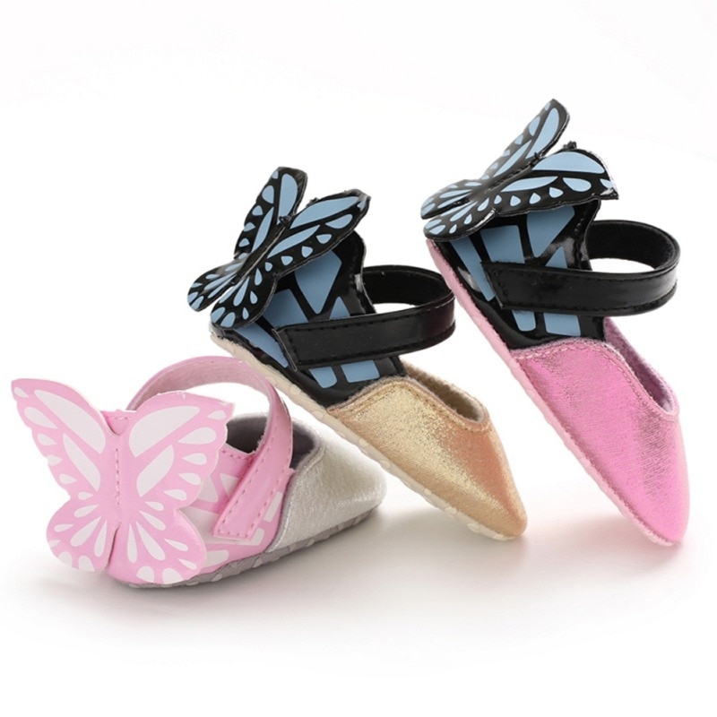 2020 Brand New Toddler Baby Girls Flower Butterfly Shoes PU Leather Shoes Soft Sole Crib Shoes Sprin