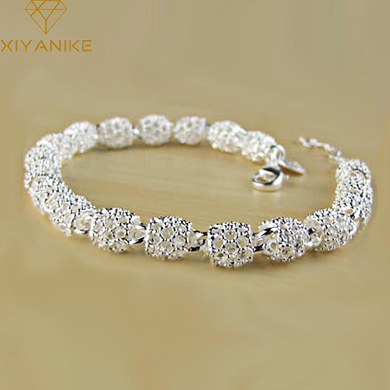 XIYANIKE 925 Sterling Silver Creative Fashion Bracelet for Women Wedding Couple Simple Geometric Pae