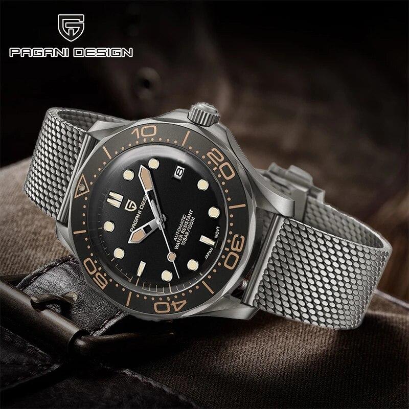 جديد PAGANI تصميم 007 الرجال ساعات آلية العلامة التجارية الفاخرة شبكة حزام ساعة أوتوماتيكية الرجال مقاوم للماء ساعة اليد اليابان NH35 ساعة